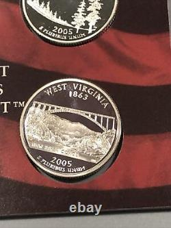 (40) 2005 S (ALL 5) Proof Silver State Quarters 1 DCAM Roll 90% Silver