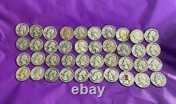 (40) United States Circulated SILVER QUARTER DOLLAR COINS 1940 -1964