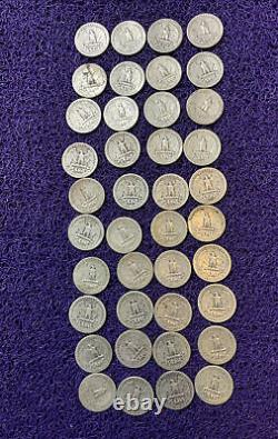 (40) United States Circulated SILVER QUARTER DOLLAR COINS 1941- 1954