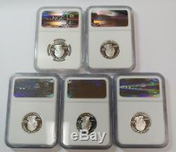 (5) Silver Washington State Quarters Ngc Graded Pf70 Ultra Cameo