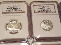 9 Different Proof Silver State Quarters PF 70 Lot NGC Washington Proof 70