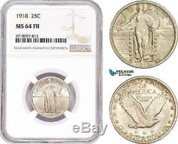 AD181, United States, Standing Liberty Quarter (25C) 1918, Silver, NGC MS64FH