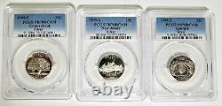 ALL 3 PR-70-DCAM 1999-S New Jersey Georgia, Connecticut SILVER Quarters PCGS