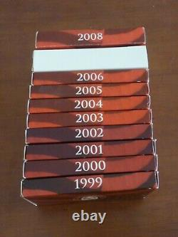 COMPLETE SET SILVER 90% PROOF SETS 10 Sets 1999-2008 with / COAs & BOXES