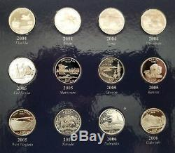 Complete 56 Coin Set 1999-2009 Silver Proof State / Territories Quarters Album