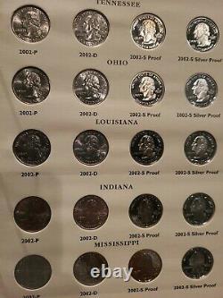 Complete Set 1999-2009 Washington State Quarter Set Littleton Album Silver Proof