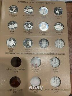 Complete Set of 1999-2008 U. S. 90% SILVER PROOF State Quarters 50 coins Dansco