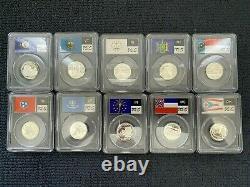 Complete Silver State Quarter 56-Coin Set PCGS PR69 DCAM Flag Label 1999 2009