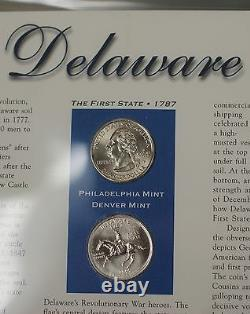 Complete Statehood Quarter Collection 100 BU Coins- P&D Mint- with Stamps