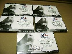 Five (5) 2005 State Quarter 90% Silver Proof Sets US Mint Packages with COAs