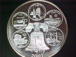 Giant 4 oz 2001 Washington Quarter. 999 Fine Silver State Quarters Reverse