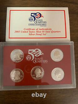 Lot (9) 2004-2008 US Mint 50 State Quarters Proof Sets with COA and Storage Box