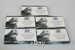 Lot Of 5 90% Silver State Quarter Proof Sets 2004-05-06-07-08 With COAs boxes