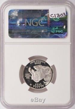 NGC 25c 2008-S Proof Silver Alaska Quarter Curved Clip @ 8 o'clock PF69 UCAM