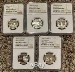 Ngc Pf70 Ultra Cameo 2000 S Silver 5 Coin State Quarter Set Rare