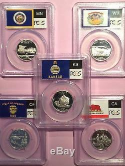 Pick Any 10 Pcgs Pr70dcam Flag Labeled Silver State Quarters-all Frosted Cameos