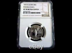 Rare Set 1999 Silver State Quarters Key Date Ngc Pf70 Graded Value $2500