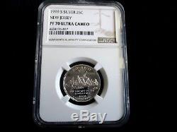 Rare Set 1999 Silver State Quarters Key Date Ngc Pf70 Graded Valve $2500