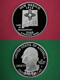 Roll Of 40 Silver 2008 S New Mexico Proof DCAM State Quarters Combined Shipping