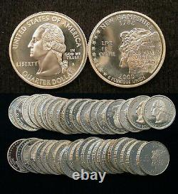 Roll of 40 2000-S Proof New Hampshire 90% Silver Quarters