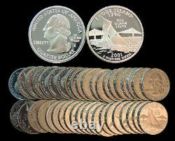 Roll of 40 2001-S Proof Rhode Island 90% Silver Quarters