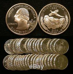 Roll of 40 2006-S Proof South Dakota 90% Silver Quarters