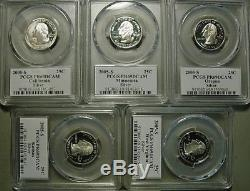 Set of 50 silver state quarters, all PCGS PF69DCAM