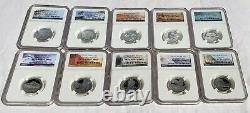 Silver NGC PR70 Ultra Cameo State Park Quarters Set all 56 Coins