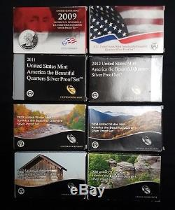 State Quarters Proof Sets (Silver) from 2009-2016, All 8 sets
