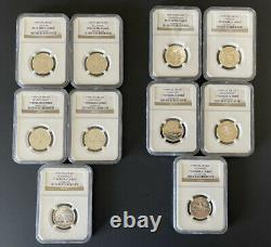 TWO SETS 1999-S SILVER QUARTERS PROOF 25c NGC PF69 ULTRA CAMEO