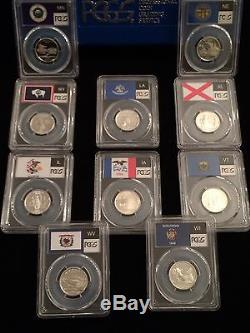Ten Pcgs Pr70dcam Silver State Quarters-flag Label-includes Rare Wyoming