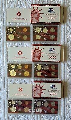 US Mint Silver Proof Sets 1999-2008 - complete sets, 50 State Quarter Series