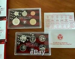 US Mint Silver Proof Sets Boxed/COAs State Quarters 2000 2006 72 coins