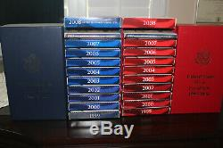 US Mint clad & silver proof sets with state quarters 1999-2008 withmint boxes