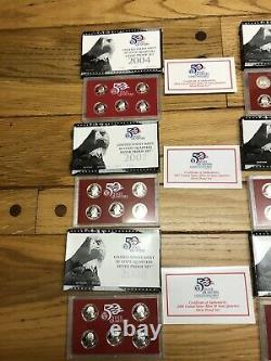 U. S Mint 50 State Quarters Silver Proof Set Lot (9) 45 Silver State Quarters