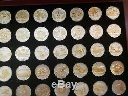 U. S. Statehood Quarters -50 Gold And Silver Highlighted with wooden display