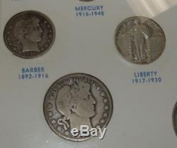 United States 20th Century Type Coins Set in Frame Nice Quarters