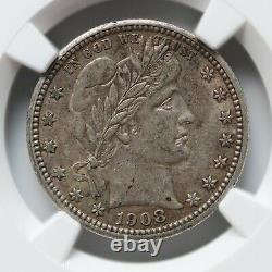 United States 25C 1908 Barber Quarter NGC AU-55 Silver Coin