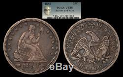 United States Seated Liberty quarter, 1853 Arrows & Rays, PCGS VF35, original