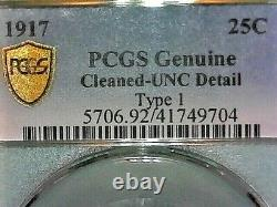 United States-pcgs Genuine 1917 Type-1 Quarter Uncirculated Detail