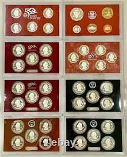 Us Mint 50 State Quarters Silver Proof Sets'07,'09,'10,'11,'12,'13 + Bonus Set