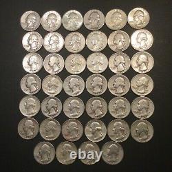 WASHINGTON QUARTER DOLLAR, Roll of 40 Coins (90% Silver)